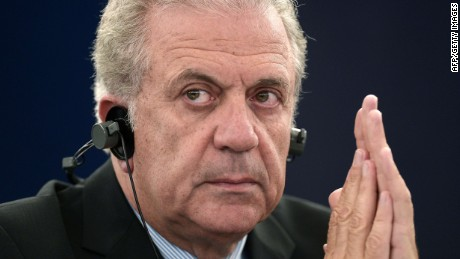 FILE: Commissioner for Migration Dimitris Avramopoulos attends a debate on migration on May 20, 2015, at the European Parliament in Strasbourg, eastern France. AFP PHOTO/FREDERICK FLORINFREDERICK FLORIN/AFP/Getty Images