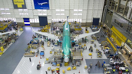 Final assembly takes place on the Boeing 737 MAX 8 in Seattle in 2015.