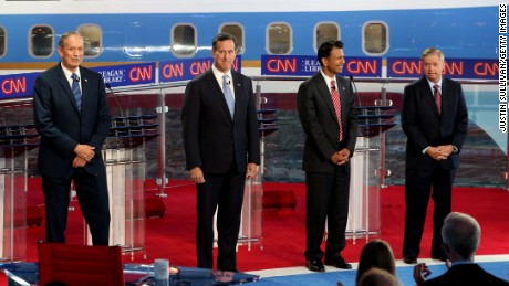 SIMI VALLEY, CA - SEPTEMBER. 16:  Republican presidential candidates, (L-R) George Pataki, Rick Santorum, Louisiana Gov. Bobby Jindal and U.S. Senator Lindsey Graham (R-SC) stand onstage during the presidential debates at the Reagan Library on September 16, 2015 in Simi Valley, California.  Fifteen Republican presidential candidates are participating in the second set of Republican presidential debates.  (Photo by Justin Sullivan/Getty Images)