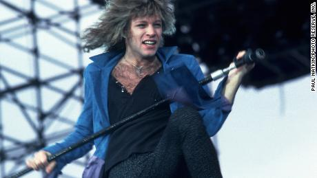 Jon Bon Jovi of Bon Jovi at Veteran's Stadium for the first Farm Aid Concert on September 22, 1985 in Champaign, Illinois.