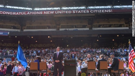 ATLANTA, GA - September 17: The Atlanta Braves host a Naturalization Ceremony for 500 candidate for United States citizenship in honor of Constitution Day and Citizenship Day at Turner Field on September 17, 2015 in Atlanta, Georgia. (Photo by Pouya Dianat/Pouya Creative/Atlanta Braves) *** Local Caption ***