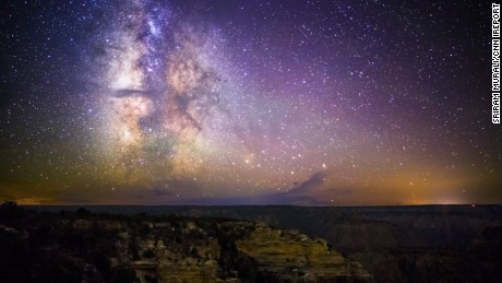 The Milky Way sparkles over the Grand Canyon in Arizona.