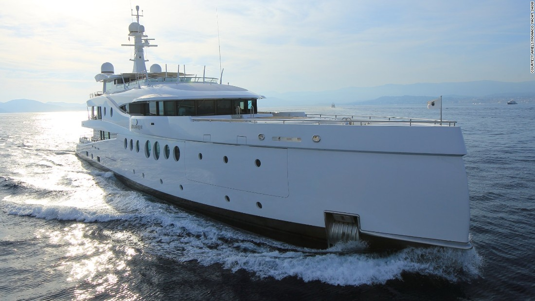 "Meet ""Madam Kate,"" the latest offering from yacht builders <a href=""http://www.monacoyachtshow.com/fr/company/496/AMELS.html"" target=""_blank"">Amels. </a>The 60-meter-long boat features a pearlescent finish which sparkles in the sunlight."