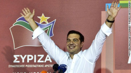 ATHENS, GREECE - SEPTEMBER 20:  Former Greek prime minister and leader of leftist Syriza party Alexis Tsipras address supporters after winning the general election on September 20, 2015 in Athens, Greece. In Greece's fifth general election in six years, the latest polls give the incumbent Syriza party 35% of the vote compared with New Democracy's 28%.  The conservative New Democracy party earlier conceded defeat, leaving Syriza to form a coalition government with the Independent Greeks party.  (Photo by Milos Bicanski/Getty Images)