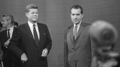 John F. Kennedy, left, and Richard M. Nixon at the first televised presidential debate.