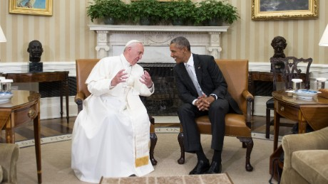 President Barack Obama talks with Pope Francis during a meeting in the Oval Office of the White House on Wednesday, September 23.