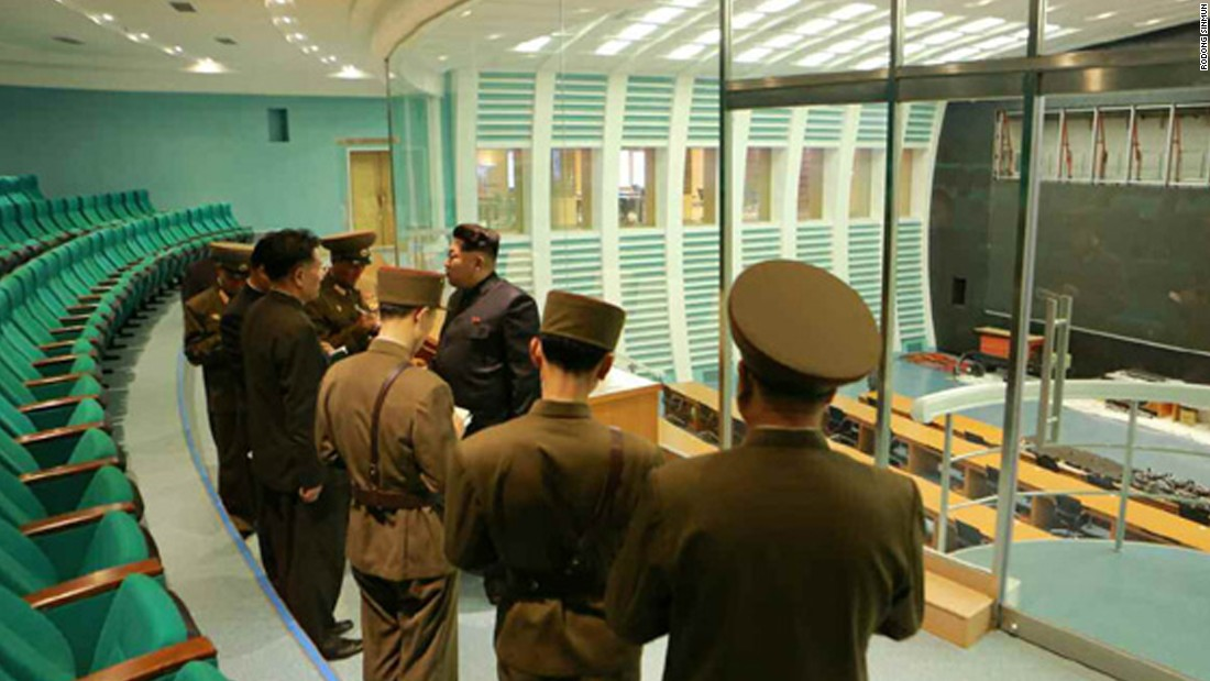Kim Jong Un is pictured during his visit inside the satellite control center.