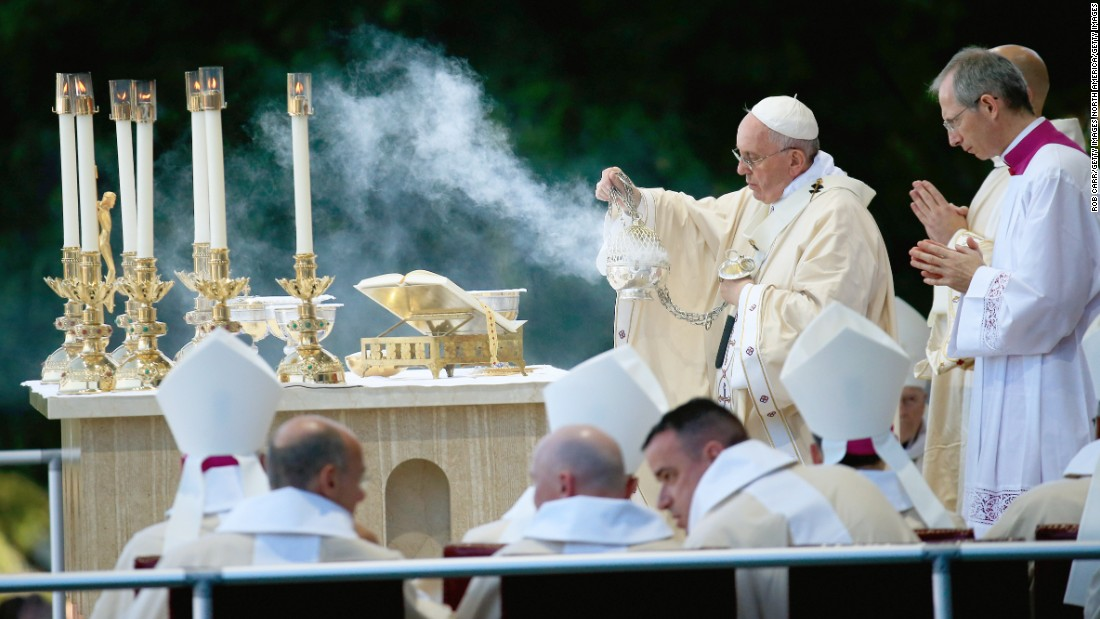 Pope Francis canonizes Serra during a Mass in Washington on Wednesday, September 23.