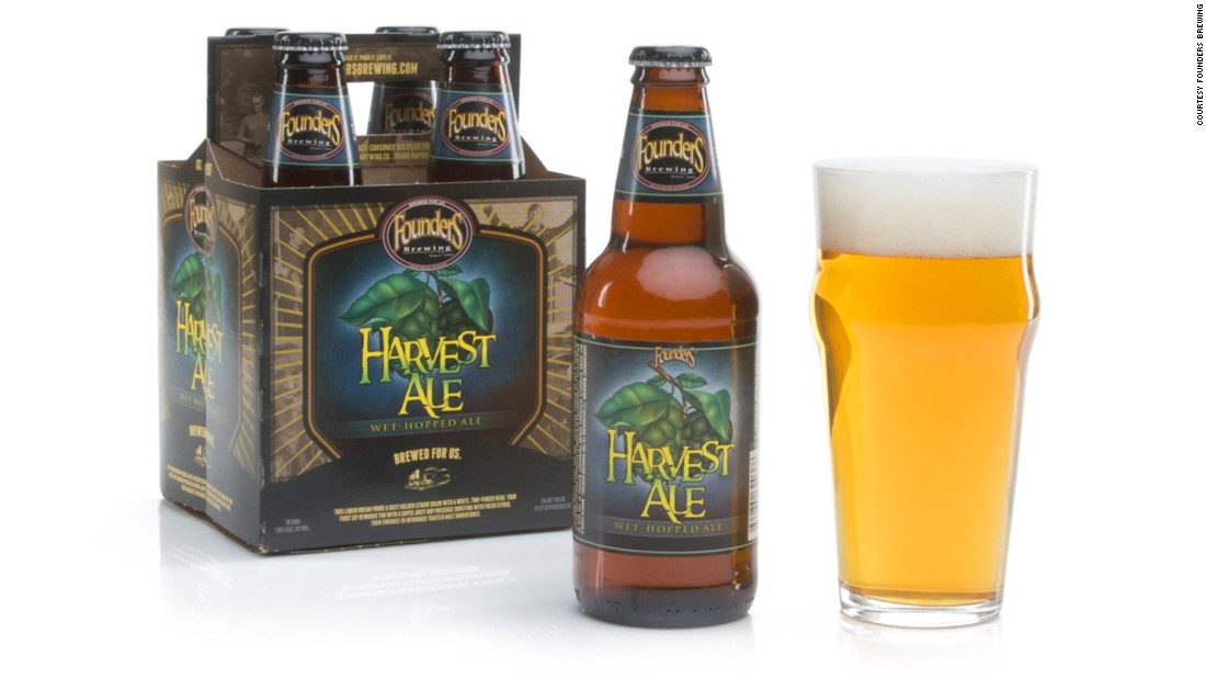 "<strong>Founders Brewing</strong> of Michigan brews this <strong>Harvest Ale</strong>, which it describes as having ""a super juicy hop presence bursting with fresh citrus ... (and) toasted malt undertones."""