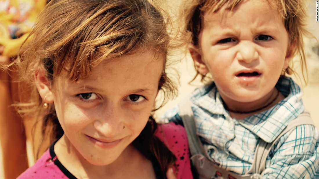 9 year-old Katrine Hamou and her two-year-old brother Zimar Hamou are from Sinjar.<br />
