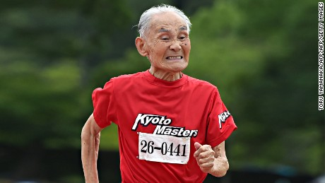 Bet you wish you could sprint at 105 -- this Japanese man can