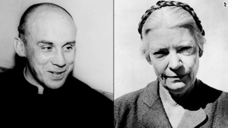 Thomas Merton, a Trappist monk known worldwide as an author and philosopher, in 1951. Dorothy Day, publisher of The Catholic Worker, is shown circa 1960.
