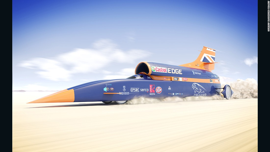 And the Bloodhoud SSC7 is bidding to reach a speed of 1,000 mph -- that's 1,609 kph -- when it takes to South Africa's Hakskeen Pan in 2017.