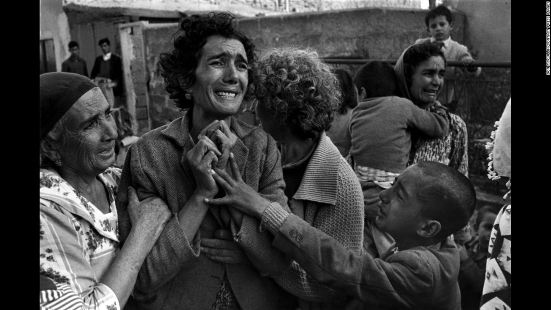 "A Turkish woman mourns her husband, who was killed by Greek forces in Cyprus in 1964. British photographer Don McCullin is renowned for his work in war and conflict. His retrospective book is now available through <a href=""http://aperture.org/shop/don-mccullin-books"" target=""_blank"">Aperture.</a>"