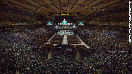 NEW YORK, NY - SEPTEMBER 25: Pope Francis celebrates Mass at Madison Square Garden on September 25, 2015 in New York City. The Pope is on a six-day visit to the U.S., with stops in Washington DC, New York City and Philadelphia. (Photo by Michael Appleton-Pool/Getty Images)