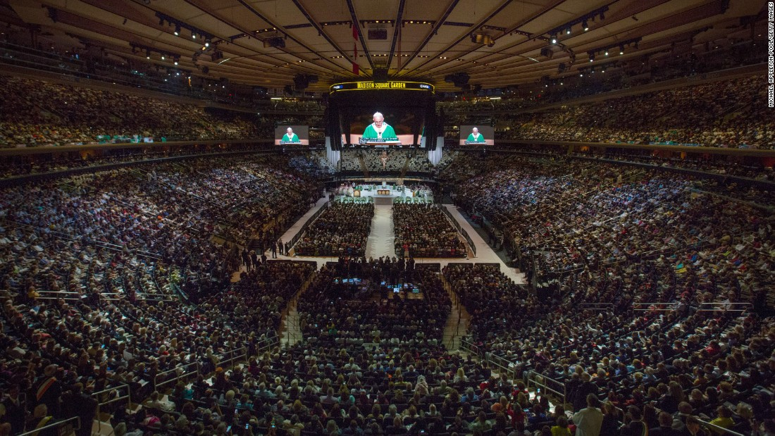 Pope Francis celebrates Mass at Madison Square Garden on Friday, September 25, in New York City.