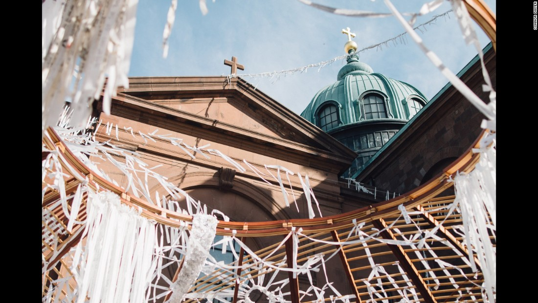 The Knotted Grotto, outside the Basilica of Saints Peter and Paul, was a community art piece, led by artist Meg Saligman, that incorporated prayers written on strips of fabric.