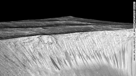 NASA says it found proof of water in dark streaks like these, called recurring slope lineae, on the walls of the Garni Crater on Mars.