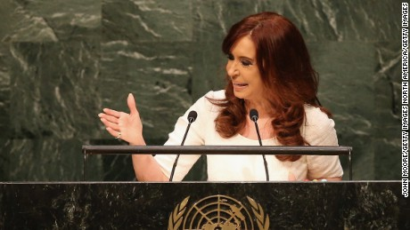 NEW YORK, NY - SEPTEMBER 28:  President of Argentina Cristina Fernandez de Kirchner addresses the United Nations General Assembly on September 28, 2015 in New York City. World leaders gathered for the 70th session of the annual meeting.  (Photo by John Moore/Getty Images)
