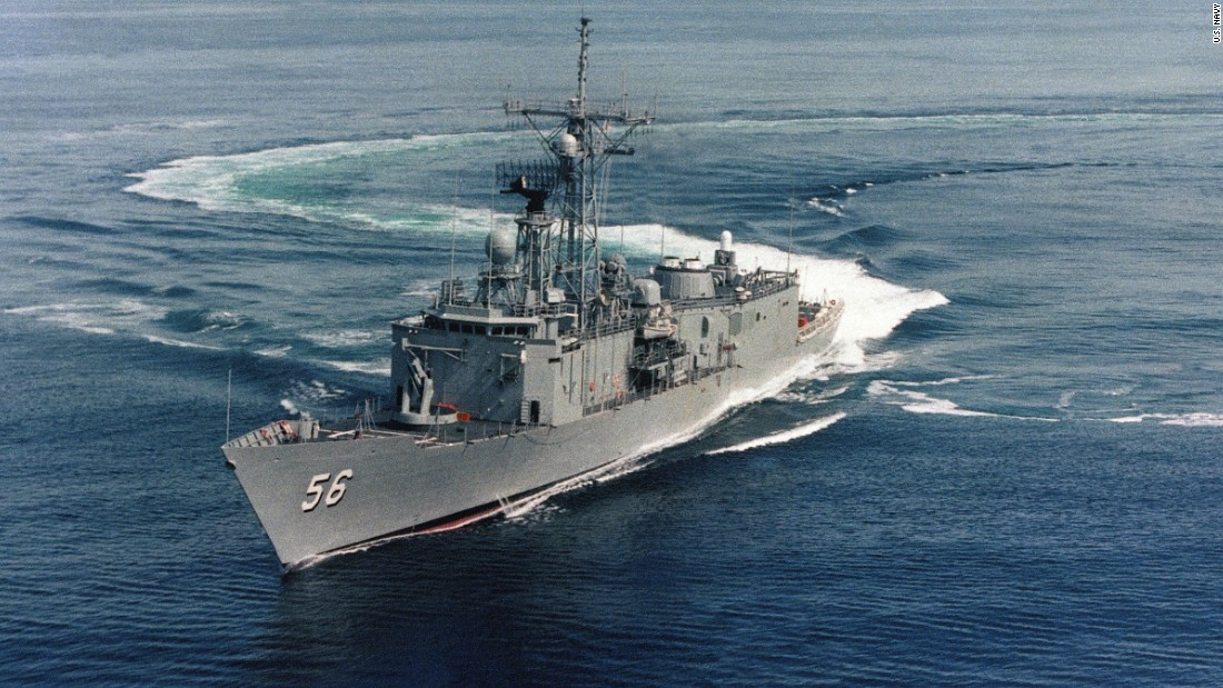 The guided-missile frigate USS Simpson floats off the coast of New England prior to its commissioning in 1985. The Simpson, the last U.S. Navy frigate, will be decommissioned on September 29.