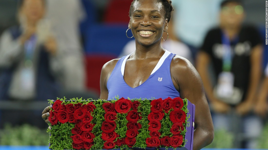 Venus is all smiles after winning her 700th career singles match in September 2015. She got the milestone victory at the Wuhan Open in China.