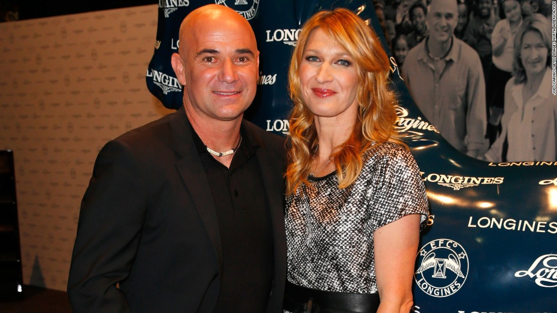Andre Agassi and Steffi Graf pose for photographers at last year's LA Masters.