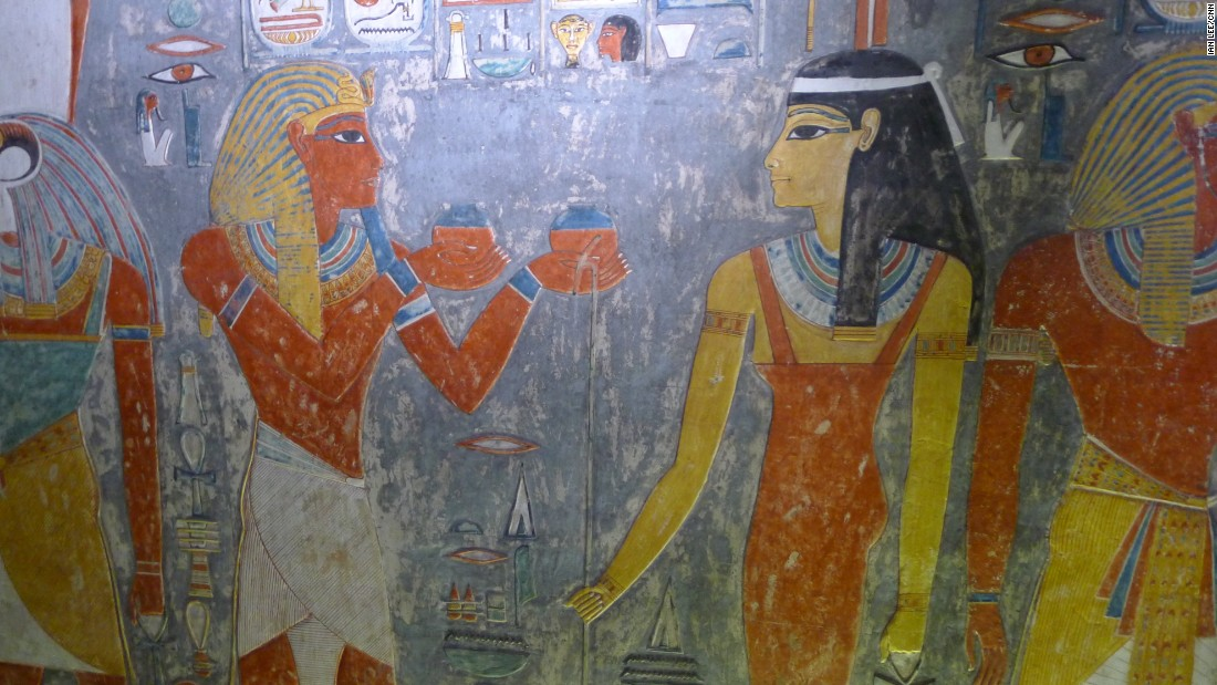 Reeves says the first clues are the simple but vivid hieroglyphics adorning the yellow walls. One section depicts what appear to be a mummy and a pharaoh.