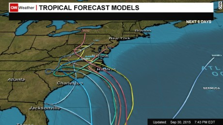 Computer models predict different paths for the hurricane.