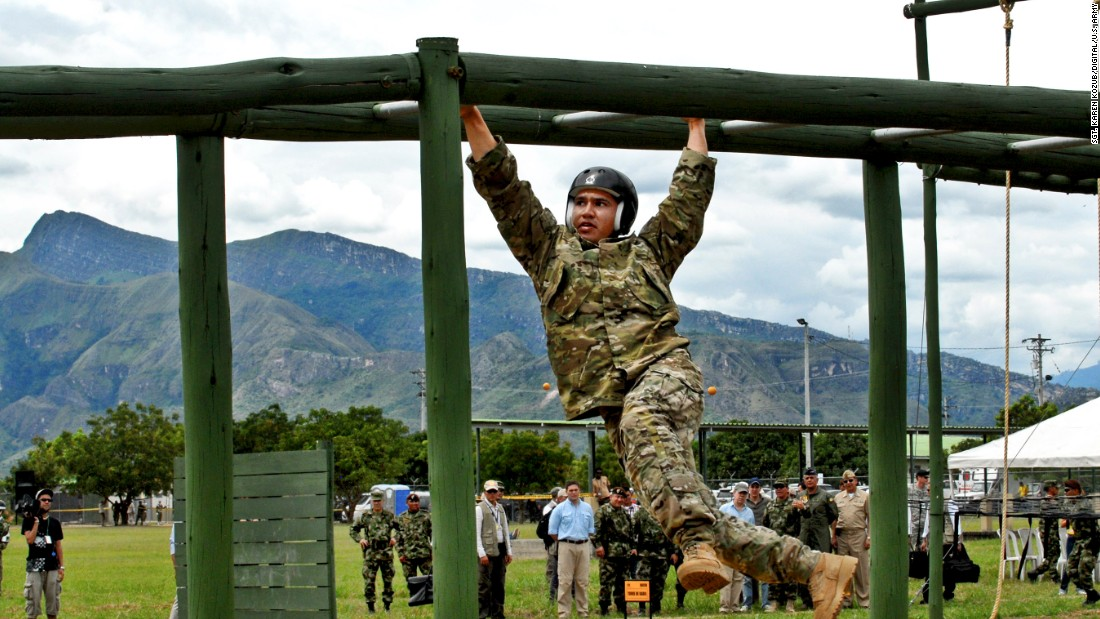 <strong>5. They know how to speak another language beside English</strong><br /><br />Pictured are Special Operations forces from the United States working their way across monkey bars on June 10, 2012, during the obstacle course portion of Fuerzas Comando 2012.