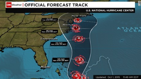 This image shows a National Hurricane Center forecast track for Hurricane Joaquin, with the storm's eye predicted to be somewhere within the shaded cone on the days indicated.