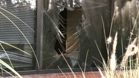An arsonist broke this window with an object at the Planned Parenthood Health Center in Thousand Oaks, California.