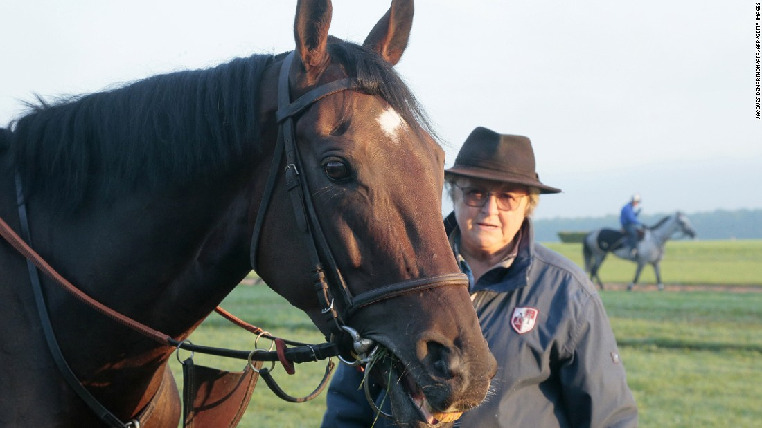 "Treve and her trainer Criquette Head-Maarek. ""There will be great sadness in my heart when she retires. But whatever she does in this race she is still <em>magnifique</em>. I love her,"" Head-Maarek said."