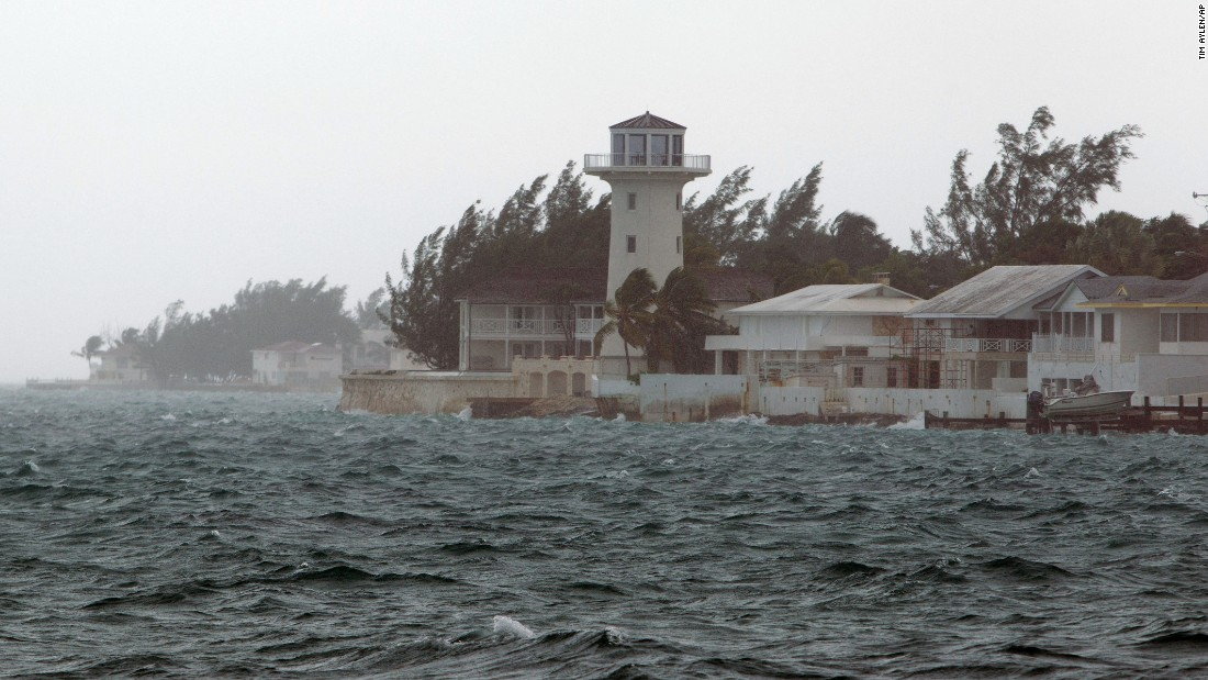 Wind and rain from Hurricane Joaquin lashes Nassau, Bahamas, on Friday, October 2. The storm stalled over the Bahamas and then began moving northward later in the day, according to the U.S. National Hurricane Center.