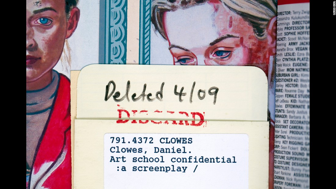 "Card catalogs have all but vanished from libraries. So have a number of books -- but <a href=""http://cnnphotos.blogs.cnn.com/2012/10/31/discarded-library-books/"">Laura Noel has tried to save a few of the discarded volumes</a>. ""Art School Confidential"" by Daniel Clowes is one of them. Click through for others."