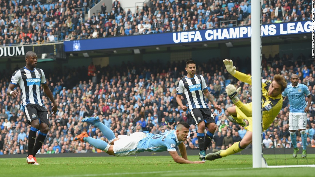 Sergio Aguero then took over. He scored the first of his five goals in the 42nd minute.