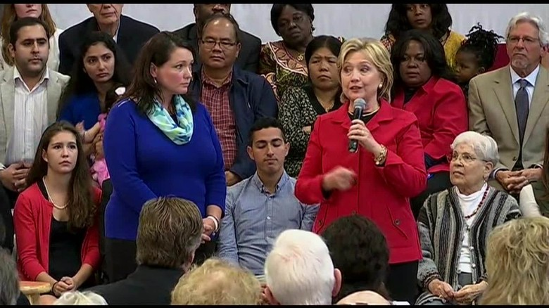 Hillary Clinton chokes up introducing Sandy Hook mother