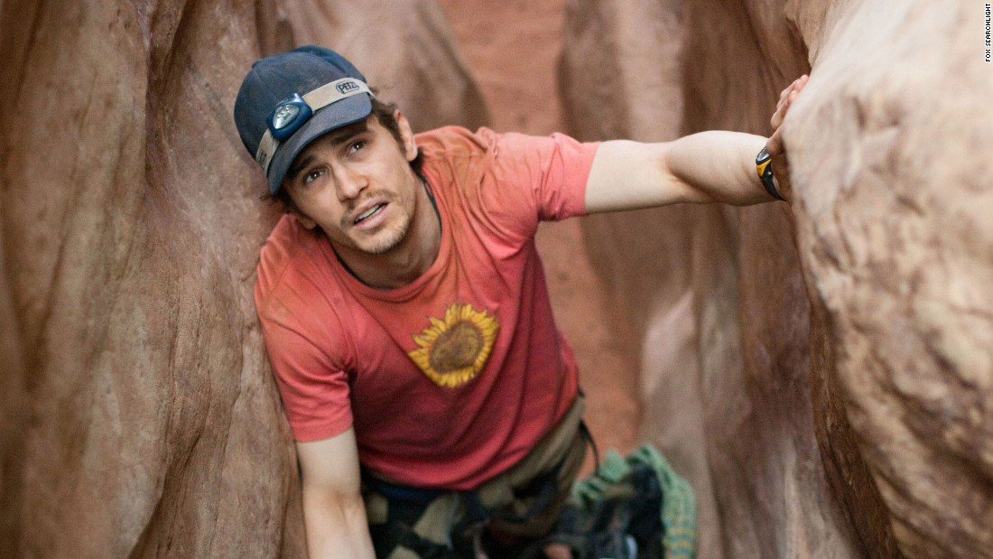 "James Franco spent five days trapped by a boulder in the remote Utah desert in 2010's ""127 Hours."" The movie was based on the true story of mountaineer Aron Ralston, who amputated his own right forearm to free himself."