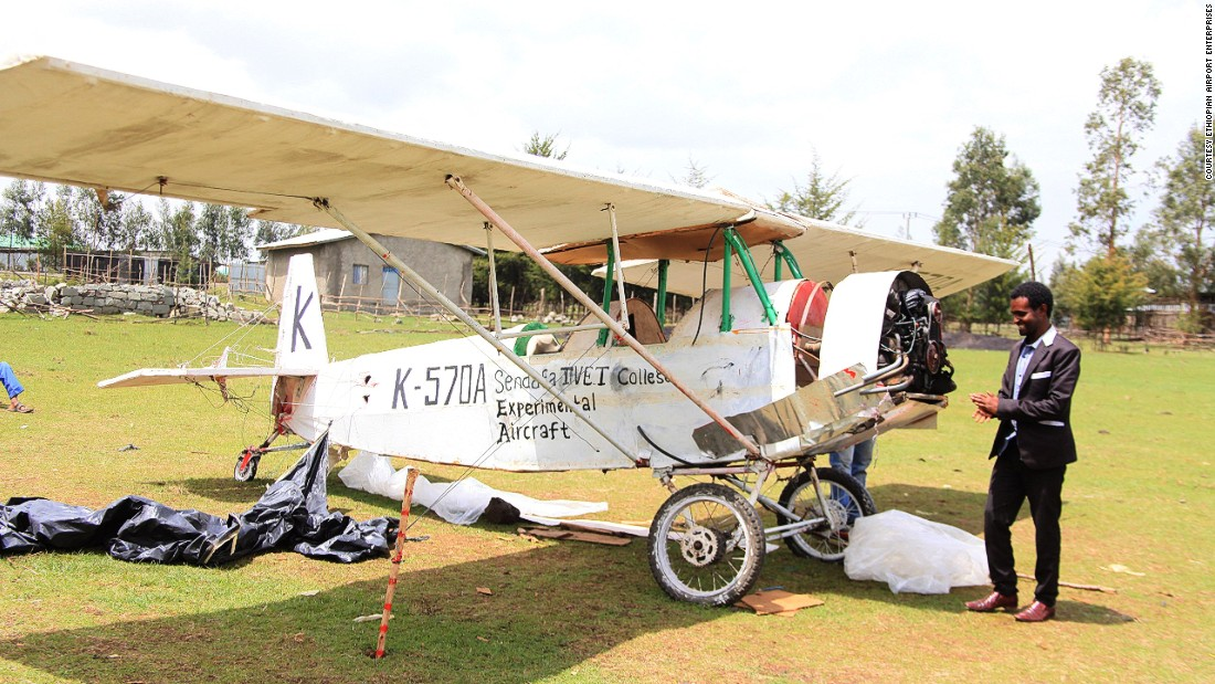This is the plane that Asmelash Zeferu will attempt to take off in -- despite having never flown before. The Ethiopian researched for over 10 years before spending 570 days building the plane, modeled on one used to train pilots in the U.S. during the 1920s and 30s.