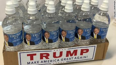"The package of ""Trump Ice Natural Spring Water"" Trump sent to Rubio's Washington office."