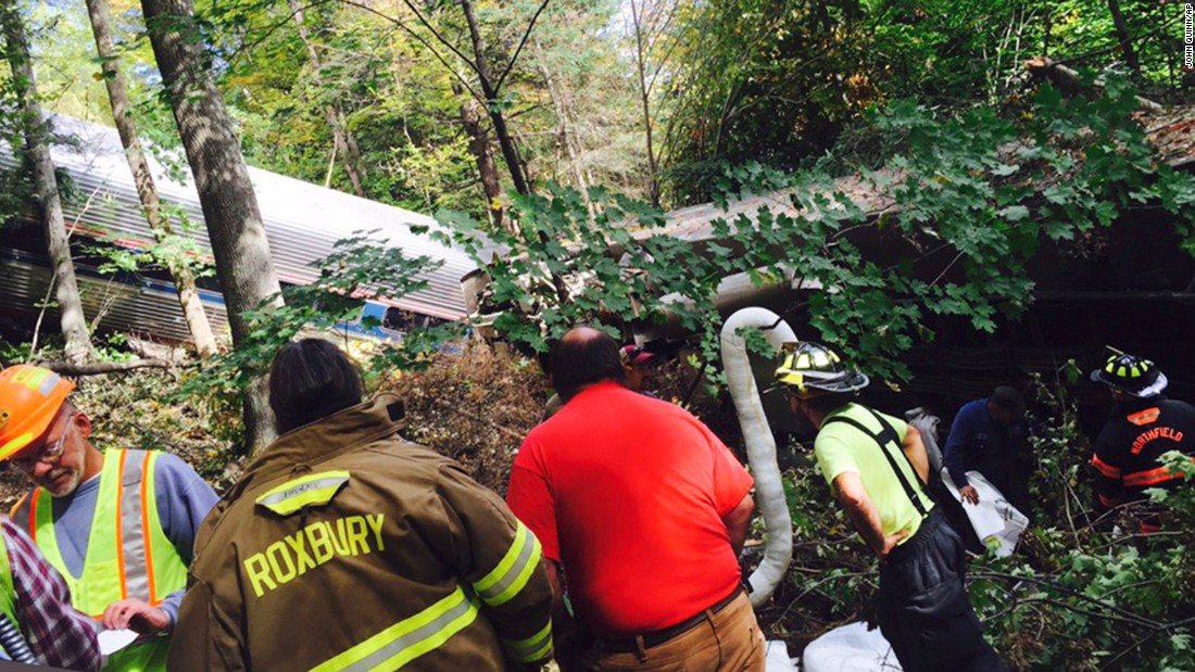 First responders assess the scene of the derailment.