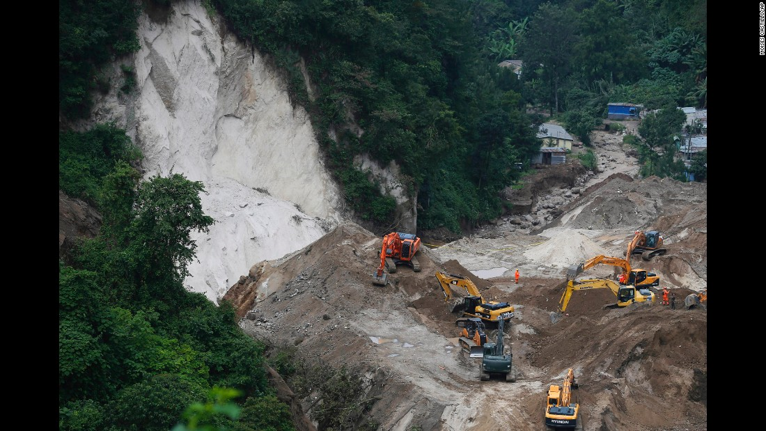 Search efforts continue for victims of a deadly landslide in Santa Catarina Pinula, Guatemala, on Monday, October 5. A massive landslide buried much of the El Cambray community near Guatemala City on Thursday, October 1. More than 160 people are dead, and authorities say hundreds remain missing.