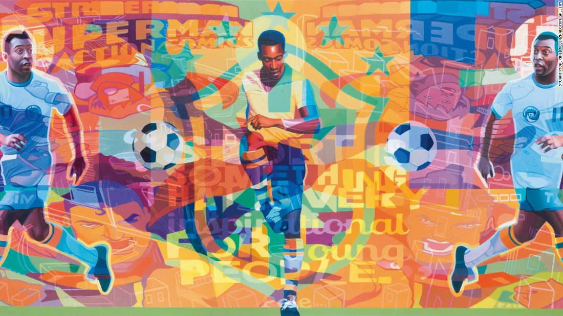"Stuart McAlpine Miller's Pele Triptych captures the color and passion Pele played with throughout his 21-year career. Asked how he thinks the game has changed, the Brazilian told CNN: ""In the past, it was a profession filled with love, now it's just a profession."""