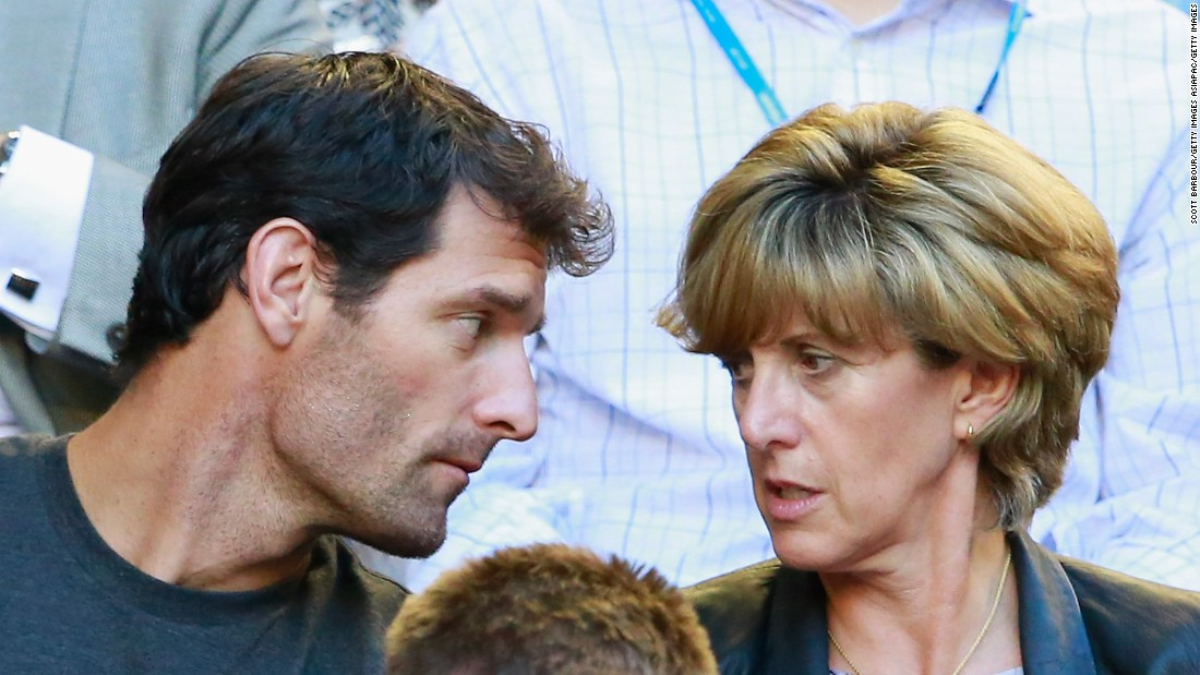 Webber, pictured with his long-term partner Ann Neale, enjoys watching sport in his spare time. The couple are seen here at the Australian Open in 2014. The racing driver reveals Ann also persuaded him to become a Manchester United fan!