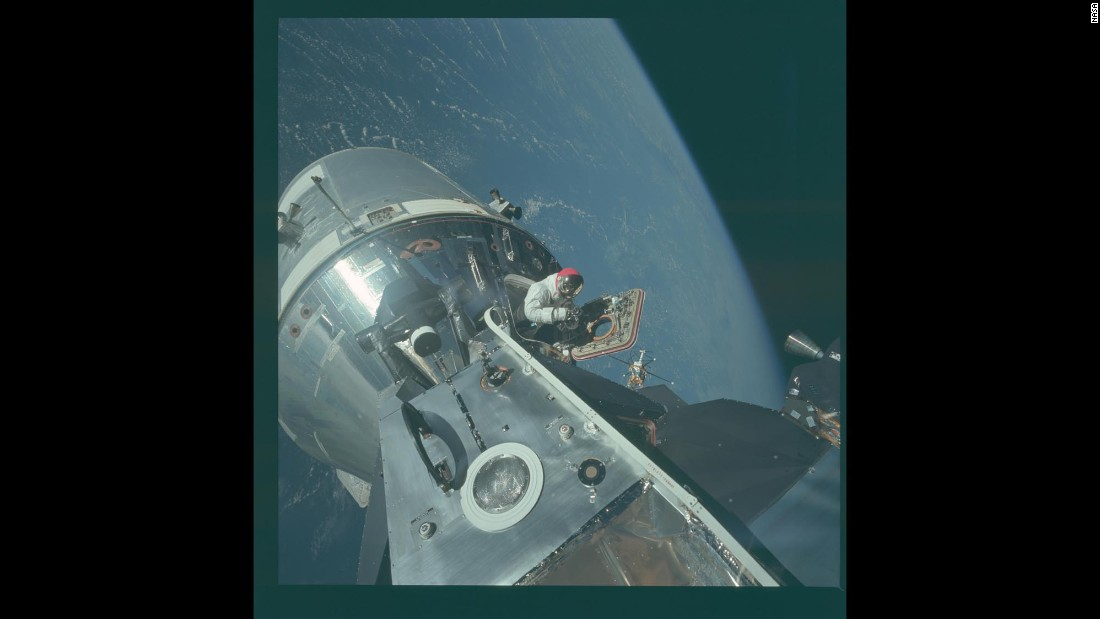 With Earth in the background, NASA astronaut David Scott works in space during the Apollo 9 mission in March 1969. On July 20, 1969, Apollo 11 was the first manned mission to land on the moon. Here's a look at a few images from each Apollo mission.