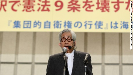 Japanese writer Kenzaburo Oe, part of the Article 9 Association, addresses a peace rally last year in Tokyo.