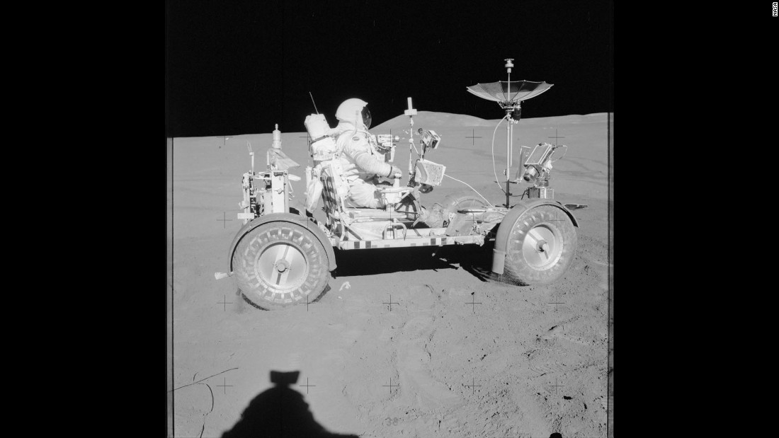 David Scott rides a lunar rover during the Apollo 15 mission in July 1971.