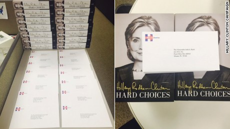 "Copies of Former Secretary of State Hillary Clinton's book, ""Hard Choices,"" with letters to members of the GOP presidential field."