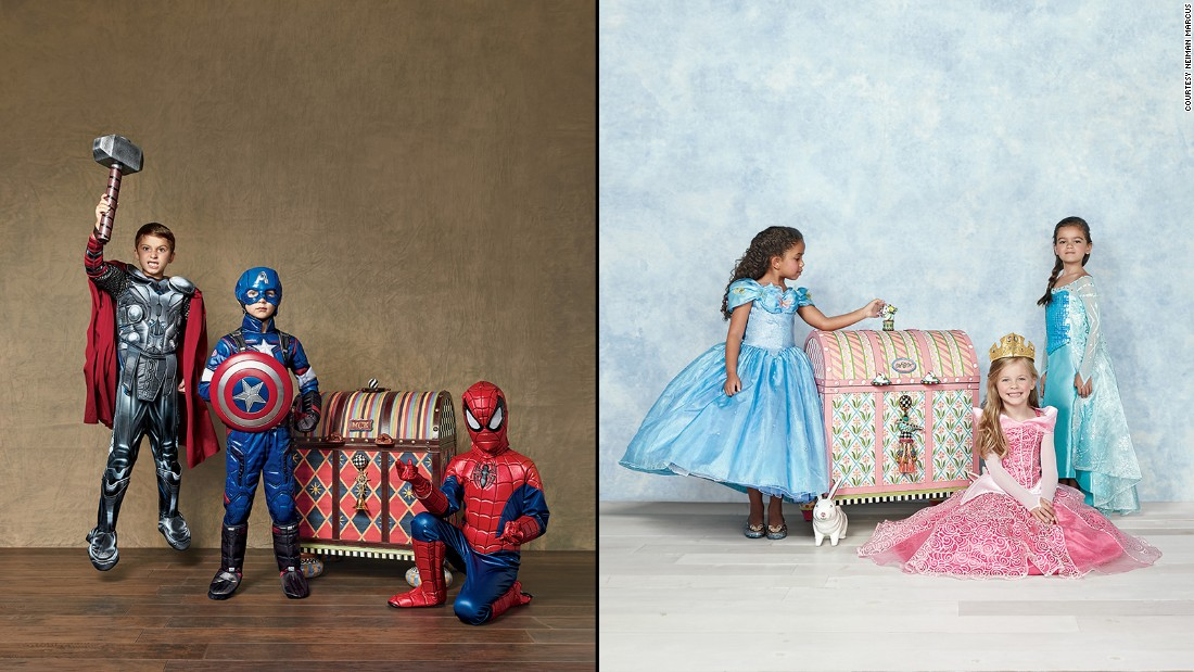 Are those pre-made Halloween costumes from Walmart just not cutting it? For <strong>$5,000</strong> each, you can have a set of ultimate princess and superhero costumes for kids. Each personalized MacKenzie-Childs trunk features the child's hand-painted initials and holds a selection of costumes, from Captain America and Thor suits to Cinderella and Elsa gowns.