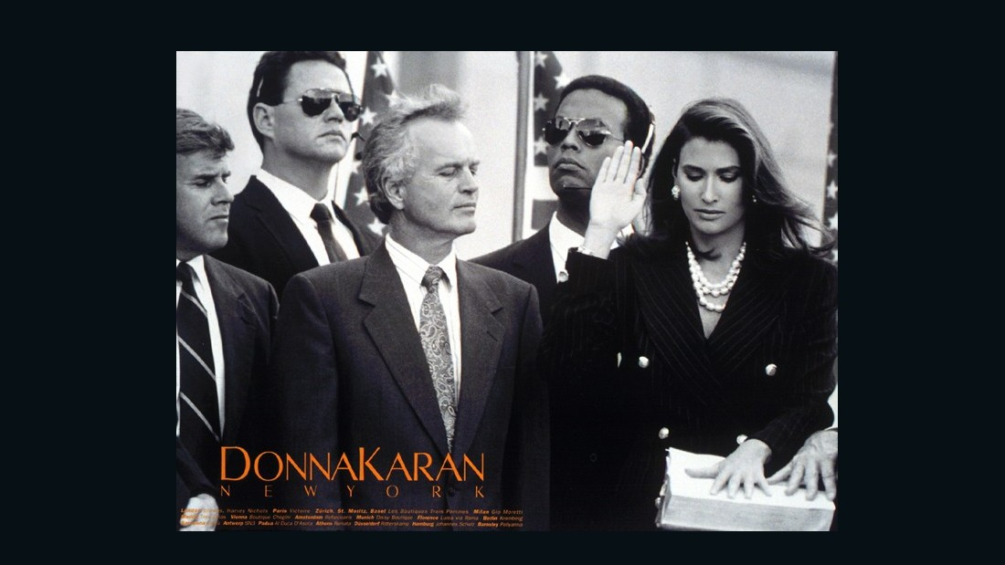 "Donna Karan's eight-page 'In Women We Trust' campaign depicted a woman on a campaign trail, being sworn in as president, and sitting in the Oval Office. ""I'm not trying to elevate women at the expense of men, but to say that a woman could go for it,"" Karan explained at the time. In a world that is still yet to see a female president, her message of equal opportunity was a challenge to the patriarchy that prevails decades after its publication."