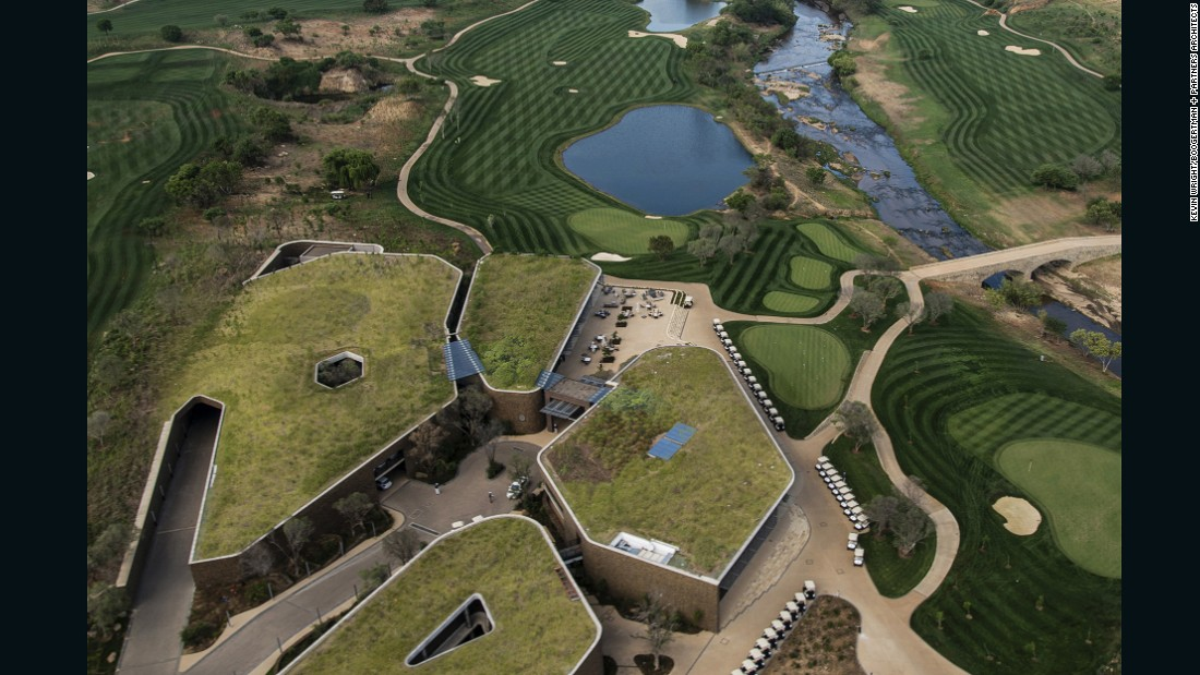 The Steyn City Clubhouse is one of the smaller-scale entries in the World Architecture Festival sport category. The design intends to blur the lines between man-made structures and the natural landscape. Green roofs help the design blend into the surrounding parks, while also help to reduce heat gain.